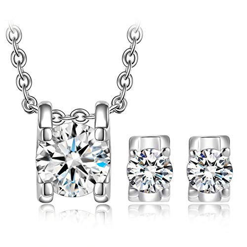 Alex Perry Christmas Jewelry Gifts Jewelry Set for Women,  Snow Queen  Forever Classic Pendant Necklace Stud Earrings Set with Cubic Zirconia, Birthday Gifts for Women Girls