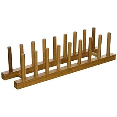 Lipper International 887 Bamboo Wood Plate Rack and Pot Lid Holder, 15-1/4  x 4-3/8  x 4