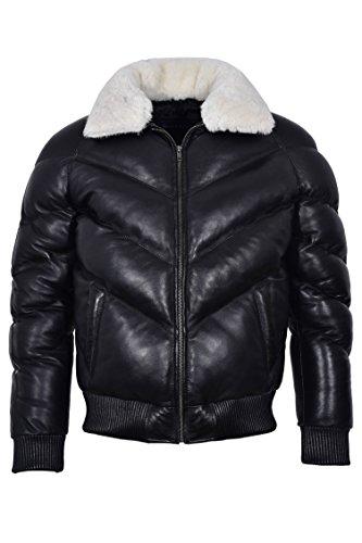 Chaqueta de Cuero Real de Asalto de los Hombres de Ace Negro con Pelo de Oveja Real Blanco en Cuello Caliente de Invierno