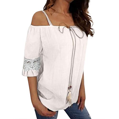 Great Price! Women Lace Pure Casual Color Plus Short Sleeve Summer Comfy Size Off Shoulder Fashion Holiday Blouse Sexy Easy Top Shirt White