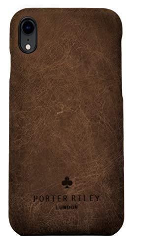Porter Riley - Coque pour iPhone XR. Housse/Coque/Etui Premium Ultra Fine en Cuir véritable Compatible avec iPhone XR (Brun Chocolat)