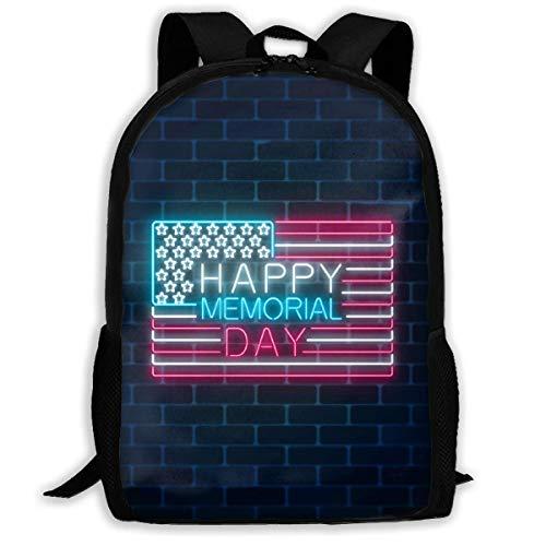 Schulrucksack Glücklicher Erinnerungstag-glühende Leuchtreklame mit USA Rucksack wasserdichte Schultaschen Durable Travel Camping Rucksäcke für Jungen und Mädchen