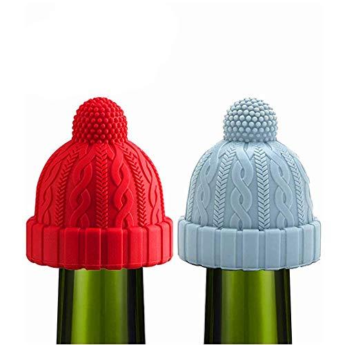 2 Stück Dekorative Weinstopfen aus Silikon, wiederverwendbar, Weinkorken, hält Wein Bier Champagner Alkohol Sekt (blau und rot)