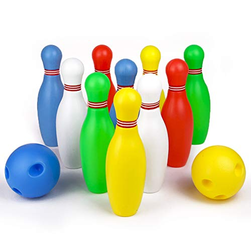 Symiu Kegelspiel Kinder Bowling Set PädagogischesSpielzeug Geschenk für Kinder Jungen Mädchen ab 3 4 5 6 Jahre (MEHRWEG)(mit 2 Bälle und 10 Kegel)