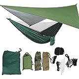 Hamaca portátil con mosquitera, Hamaca conveniente al aire libre con mosquitera Hamaca para acampar en verano Hamaca al aire libre a prueba de lluvia(Toldo verde militar + hamaca verde oscuro)