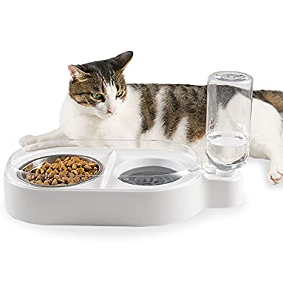 Qucey Double Cat Dog Bowls Pet Automatic Water Dispenser Detachable Bowl No-Spill Pet Food Water Bowls Feeder for Cats and Small Dog