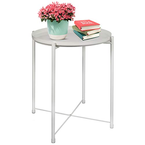 Tray Metal End Table,Sofa Table,Small Round Side Tables, Metal Nightstand,Anti-Rust and Waterproof Snack Table with Removable Tray,for Living Room Bedroom Outdoor & Indoor - (H) 52 x (D) 42 CM (White)