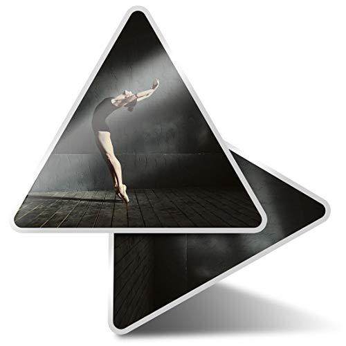 2 pegatinas triangulares de 10 cm – Profesional Femenino Bailarín Divertido Calcomanías para Portátiles, Tabletas, Equipaje, Reserva de Chatarra Frigoríficos #16710