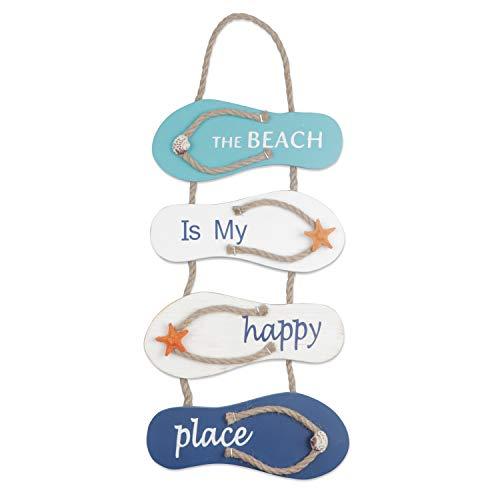 YiYa Playa náutica Flip Flop Decoración Flip Flop Adorno de pared Colgante Zapatillas de madera Decoración Decoración de pared Adorno colgante de puerta Tema de playa Decoración del hogar, Blanco Azul