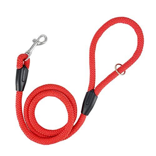 AVANZONA Correa Perro Nylon Redondo antitirones Entrenamiento para Perros pequeños medianos y Grandes 1.3 * 120cm (Rojo) ⭐