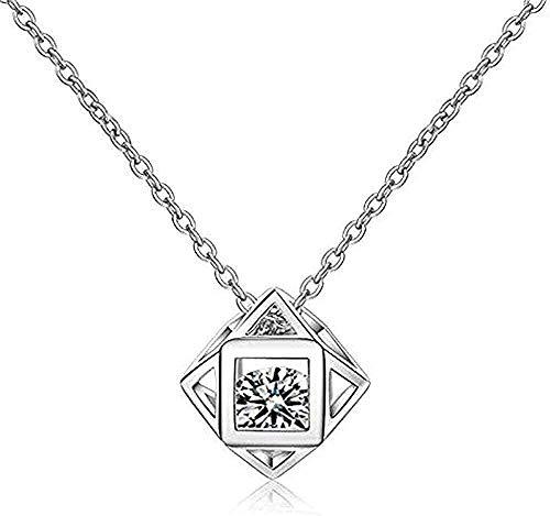 WYDSFWL Collar Amor Personalidad Dados Dama geometría Bola Plata joyería Cristal clavícula Cadena Colgante Collar