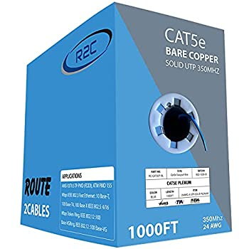 Route2Cables-CAT5e Ethernet Cables Cat 5e Internet Cable 1000ft UTP ETL Listed CMP Rated 24AWG 350MHz Solid Pure Bare Copper Bulk Cables LAN Internet Plenum RJ45 Wire  Blue