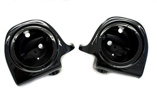 Mutazu Vivid Black Lower Vented Fairing 6.5' Speaker Pods for Harley Touring