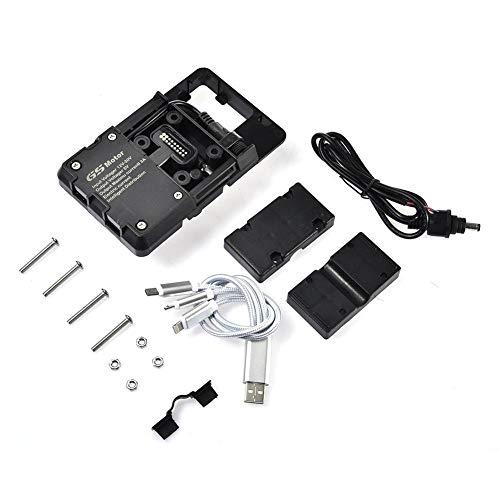 heirao4072 Handy GPS Navigation Halterung Zubehör Für BMW R1200 Gs, Einstellbare Anti Shake Metall Fahrrad Handyhalterung USB Lade 12mm, Für Honda Motorrad ADV F700 800gs Crf1000l