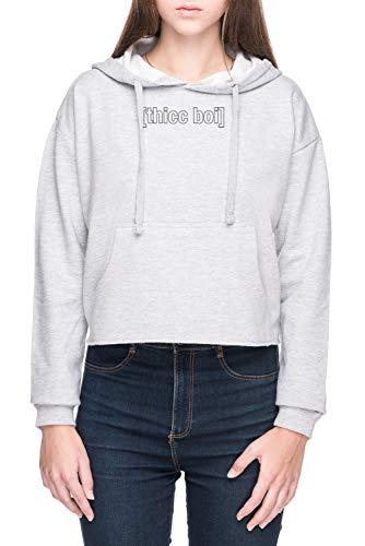 Thicc BoiMujer Sudadera con Capucha de Crop Gris Women's Crop Hoodie Sweatshirt Grey