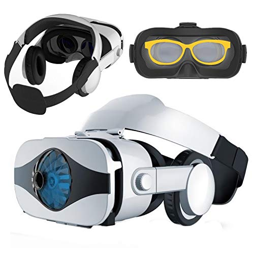 Virtual Reality Headset VR Glasses, VR Goggle Viewer w/ Headphone for iPhone 11 Pro XS Max XR X 8 + Samsung Galaxy S10 S9 S8 S7 Edge+ Note 10 9 8 A50 for 3D Movie/Game for IOS Android Cellphone, White
