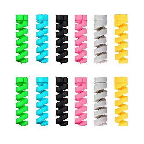 Ladekabelschutz, 12 Stück, Spiralkabelschutz, flexibles Silikon, für Notebooks, Handys, Ladegeräte, Kabelschutz, zufällige Farbe