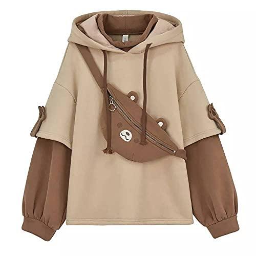 CUIZC Harajuku Aesthetic Bear Anime - Sudadera con capucha para mujer, cuello redondo coreano, ropa de calle kpop otoño e invierno marrón M