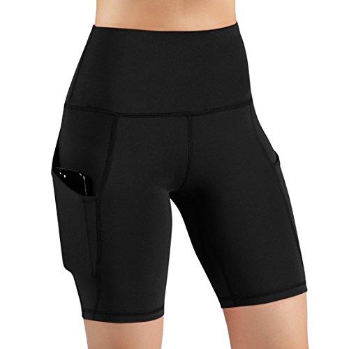 ODODOS High Waist Out Pocket Yoga Short Tummy Control Workout Running Athletic Non See-Through Yoga Shorts,Black,Medium