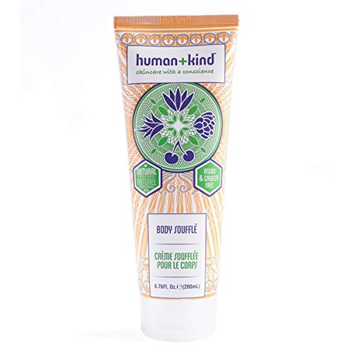 Human+Kind Body Souffle   Lightly Whipped Cream Moisturizer is Quickly Absorbed   Great for Dry or Eczema-Prone Skin   Natural, Vegan Skin Care   6.76 fl oz Tube