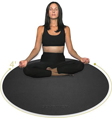 SCHRINER Pro Meditation Mat - 4' x 8mm - Premium Thick Non Slip Round Exercise Mat