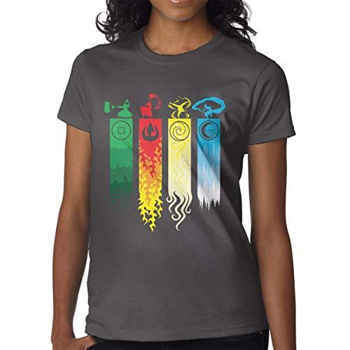 Damen T-Shirt Avatar-The Last Legend Airbender-of-Korra-Aang T-Shirts T Shirt Baumwolle Casual Tee Gr. Large, Deep Heather