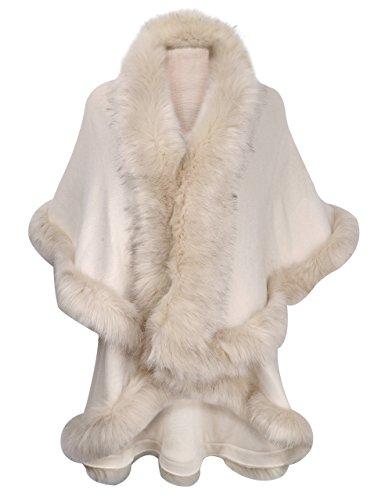 ZLYC Damen Winter Kunstpelz Poncho Strick Schal Stola Warm Cape Cardigan (Milch Weiß),Einheitsgröße