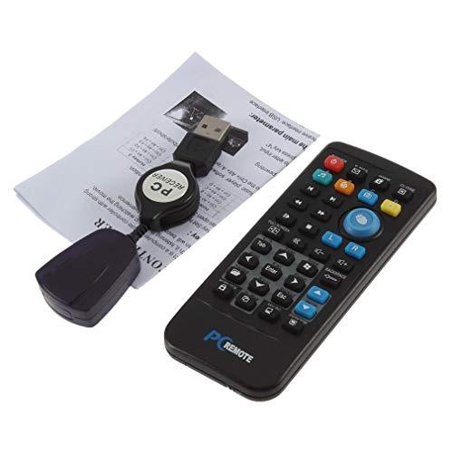 RHNE Controlador teledirigido inalámbrico de Windows Media Center del USB de la PC hasta el Negro del 18M