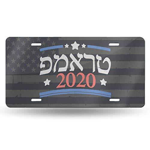 MYGED Judío para Trump 2020 Israel EE. UU. Elección hebrea Impermeable Vanidad de Metal Placa de matrícula automática Placa de Metal para automóvil, Placa de Licencia de Aluminio de Novedad, 6 X 12 p