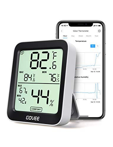 Govee Thermometer Hygrometer, Accurate Indoor Temperature Humidity Sensor with Notification Alert,...