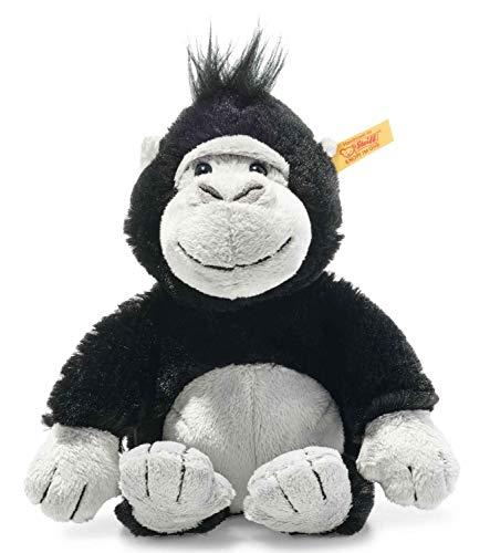 Steiff 069130 Original Plüschtier Bongy Gorilla, Soft Cuddly Friends Kuscheltier ca. 20 cm, Markenplüsch mit Knopf im Ohr, Schmusefreund für Babys von Geburt an, schwarz-hellgrau