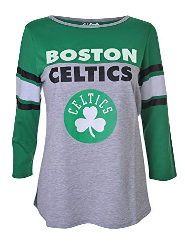 Ultra Game NBA Boston Celtics Womens T-Shirt Raglan Baseball 3/4 Long Sleeve Tee Shirt, Team Color, Large