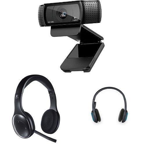 Logitech C920 HD Pro Webcam schwarz + Logitech H800 Headset schnurlos schwarz + Logitech H600 Headset schnurlos schwarz-blau