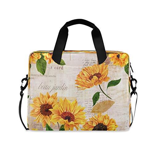 BGIFT Men Women Laptop Bag Vintage Flower Floral Sunflower Laptop Case Sleeve 15.6 13 14 16 Inch Briefcase Messenger with Shoulder Strap Handle Notebook Computer Tablet Bags for Kids