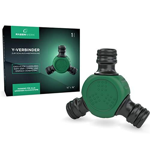 RASENWERK® - Y-Verbinder zur Schlauchabzweigung - Schlauch Verteiler - Zubehör für Gartenschlauch - Universeller Wasserverteiler - 1 Stück