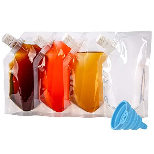LUTER 240ml Likörbeutel Getränkebeutel Trinkbeutel, Transparent Faltbarer Kunststoff Wasserflasche BPA-Frei mit einem Blauen Faltbaren Trichterkit für Reisen im Freien (17x11cm, 4 Stück)