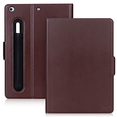 FYY Luxury Cowhide Genuine Leather Handcrafted Case Cover [with Apple Pencil Holder] for Apple iPad 9.7 2017/2018/ iPad Air 2013 with [Auto Sleep-Wake Function] Brown