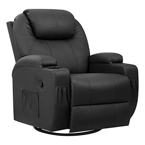 Pawnova PU Leather Chair with Massage Function, Adjustable Home Theater Single Recliner Thick Seat and Backrest, 360°Swivel and Rocking Sofa for Living Room, Black
