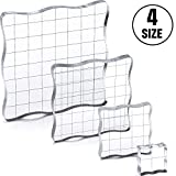 4 Pieces Acrylic Stamping Blocks Clear Stamp Blocks Tools with Grid Lines and Grip, DIY Crafts Ornaments, Decorative Stamp Blocks Set for Scrapbooking Crafts Making