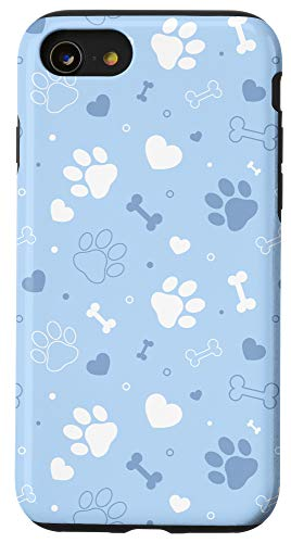 iPhone SE (2020) / 7 / 8 Cute Dog Paw Prints Puppy Lover Blue Pattern Gift Case