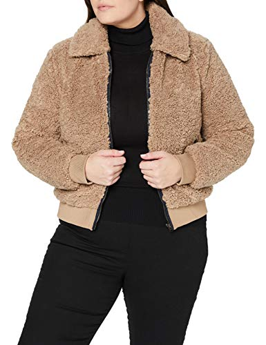 Superdry Womens Storm Sherpa Ziphood Cardigan Sweater, Taupe, 10
