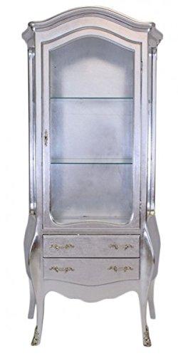 Casa Padrino Barock Vitrine Silber/Silber - Glas Vitrine Möbel Schrank