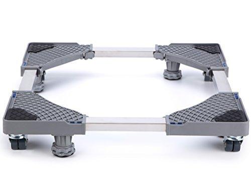 LUCKUP Base ajustable móvil multifuncional con 4 ruedas giratorias de goma de bloqueo y 4 pies fuertes, plataforma móvil universal...