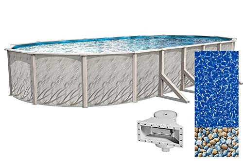 Lake Effect Meadows Reprieve 15' x 24' Oval Above Ground Swimming Pool | 52' Height | Resin...