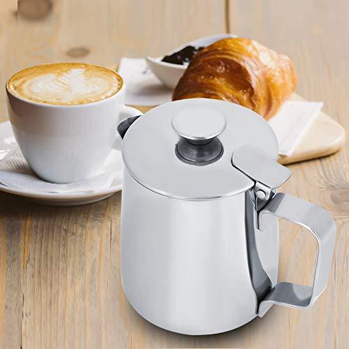 Duokon Tasse à café en Acier Inoxydable avec pichet à Lait et Couvercle pour Art Latte(250ML)