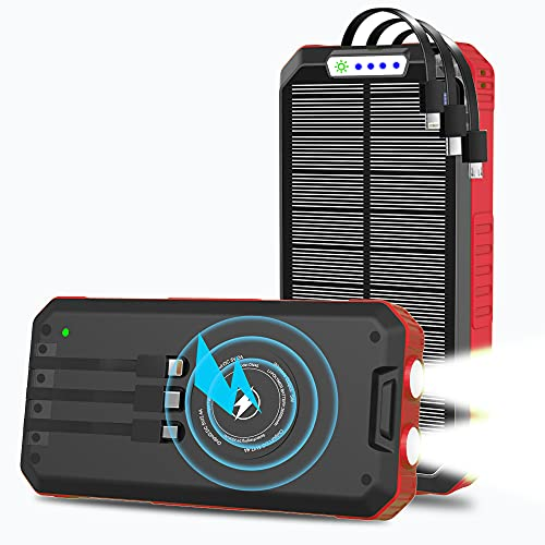 Solar Charger, 15W 30000mAh Wireless Qi Power Bank USB C Fast Charging for Cell Phone, 3 Cables & LED Light, Waterproof External Battery Pack Portable Phone Charger, Compatible with iPhone, Android