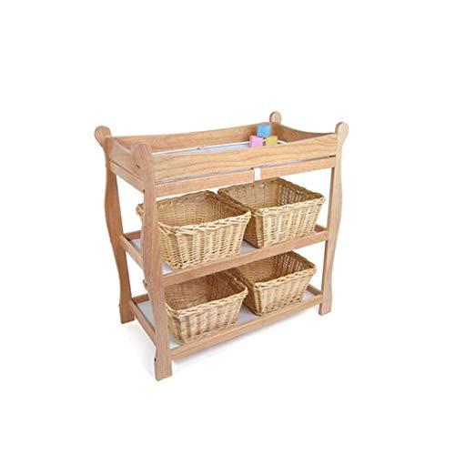 HIZLJJ Wickeltisch, Babywindel Kinder Station, Neugeborenes Wickeltisch Organisation, Schlitten Stil Nursery Dresser, 2 Fest Regale Wickeltisch (Color : Wood)