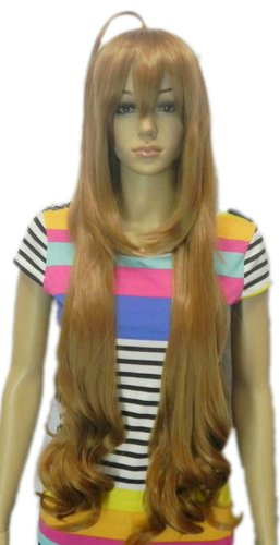 Qiyun Extra Longue Femme Ondule Brun Jaune F¨ºte Costumee Cheveux Complete Cosplay Anime Costume Perruque