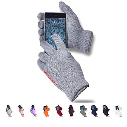 AXELENS Guanti Touch Screen Tattili Invernali Capacitivi Resistenti al Freddo Unisex Interno Felpato per Smartphone Cellulari e Tablet Confezione Regalo Inclusa Grigio