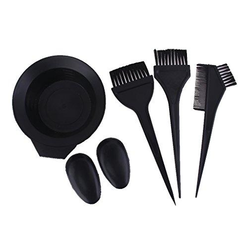 Salon Couleur des cheveux colorant Bol Peigne brosse Coiffeur vitres Kit d'outils – Noir